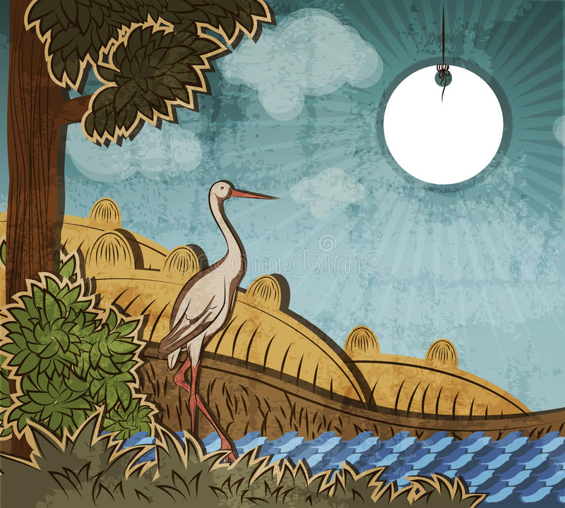 Stork in front of countryside. Illustration to fairy tale Ugly Duckling (Hans Christian Andersen royalty free illustration