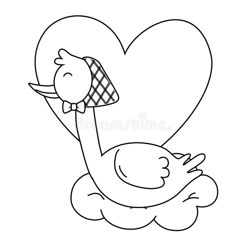 Stork with heart in black and white vector illustration