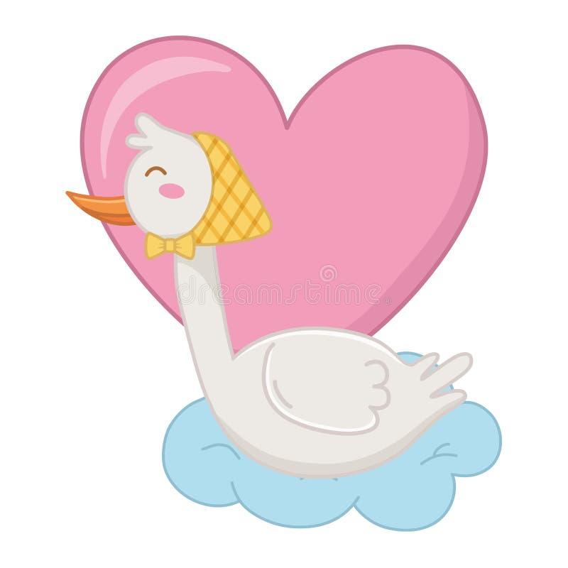 Stork with heart vector illustration stock illustration