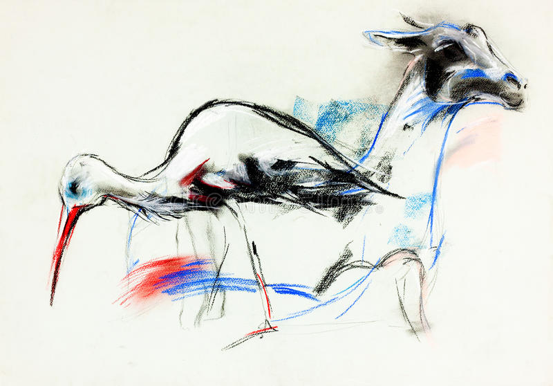 Download Stork and llama stock illustration. Illustration of drawing - 28677819