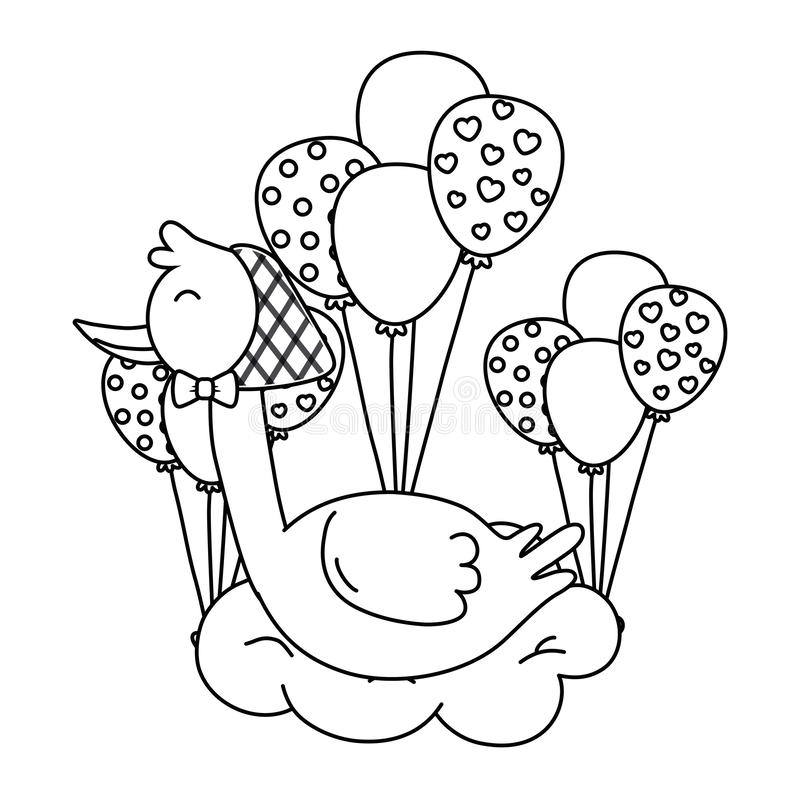 Stork lying on a cloud in black and white vector illustration