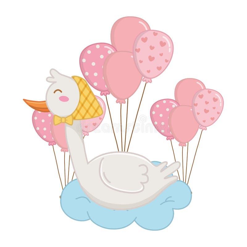 Stork lying on a cloud royalty free illustration