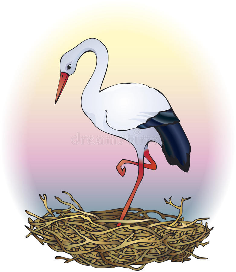 Download Stork in the nest stock vector. Image of bird, hatch - 14469187