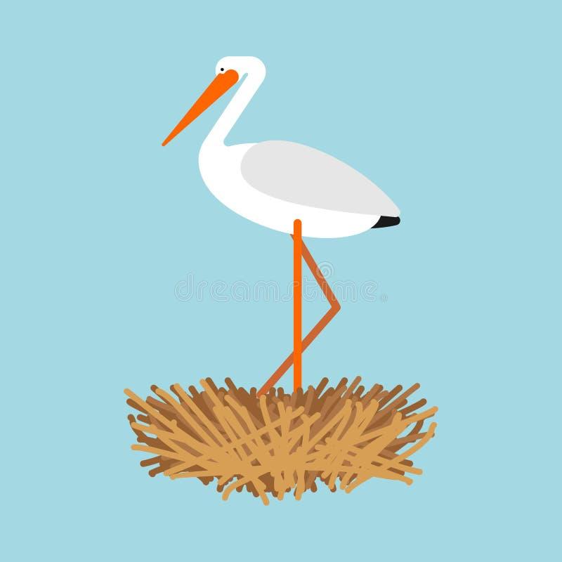 Stork in nest isolated. Bird Vector illustration royalty free illustration