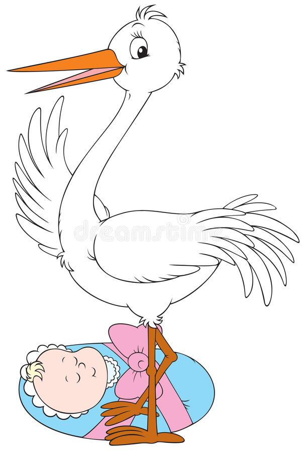 Stork and newborn stock illustration