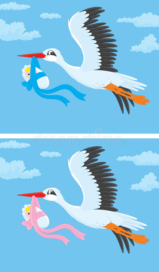 Stork with a newborn baby royalty free illustration