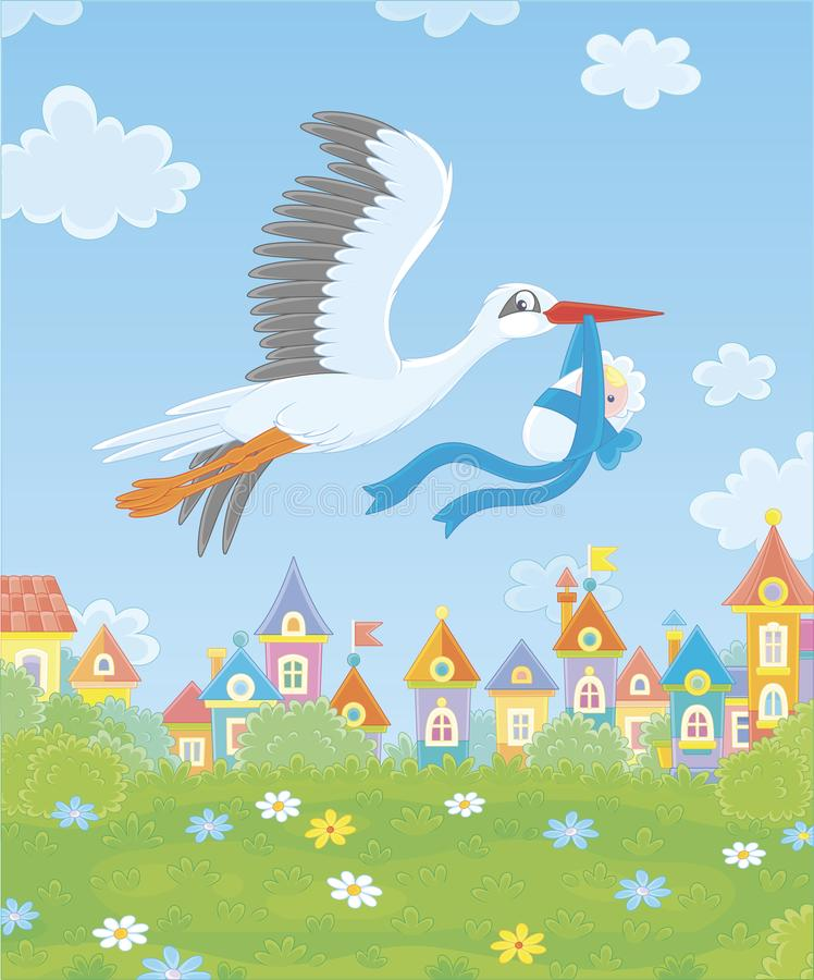 Stork with a newborn baby stock illustration