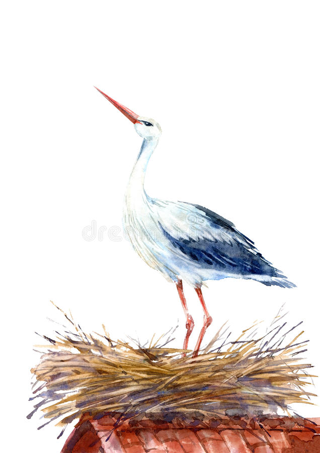 Free Stork On The Roof In The Nest. Stock Photo - 86846880