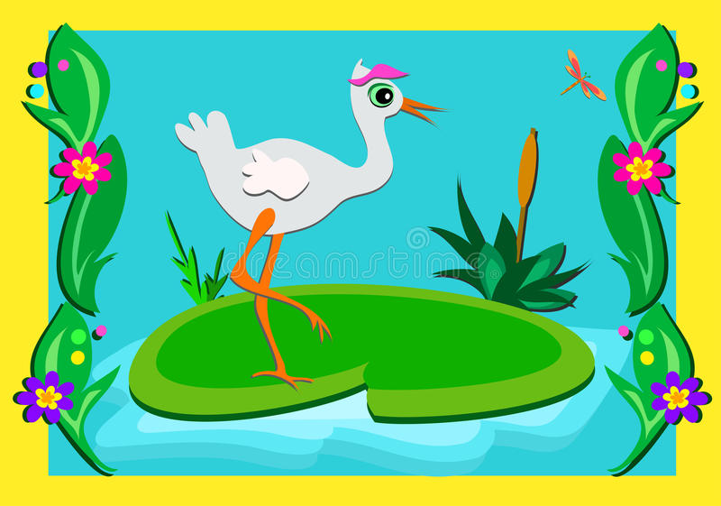 Download Stork In A Pond Setting Picture Stock Vector - Illustration of water, insect: 22119059