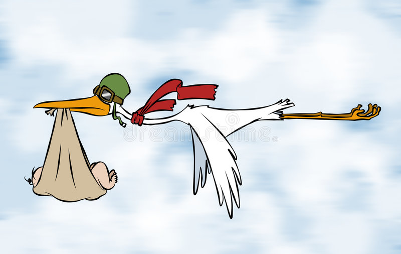 Stork's Special Delivery royalty free illustration