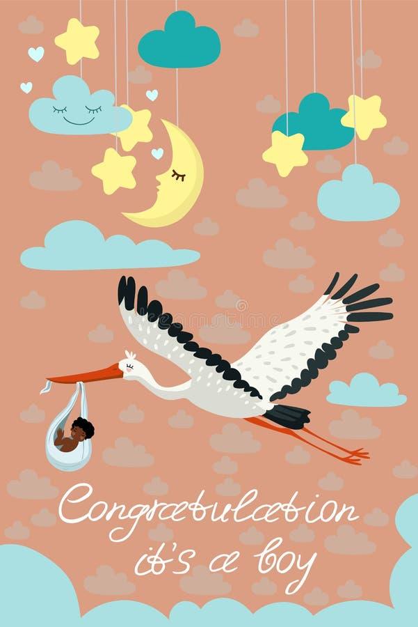 Stork som bär ett gulligt svart barn i en påse Denna är en pojke behandla som ett barn mallen för pojkemeddelandekortet Vektorvyk stock illustrationer