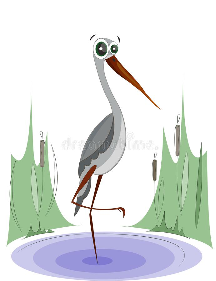 Stork stands on the lake. Funny cartoon character stock illustration