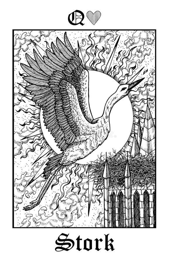 stork Tarokkort från däck för orakel för vektorLenormand gotiskt gåtor stock illustrationer