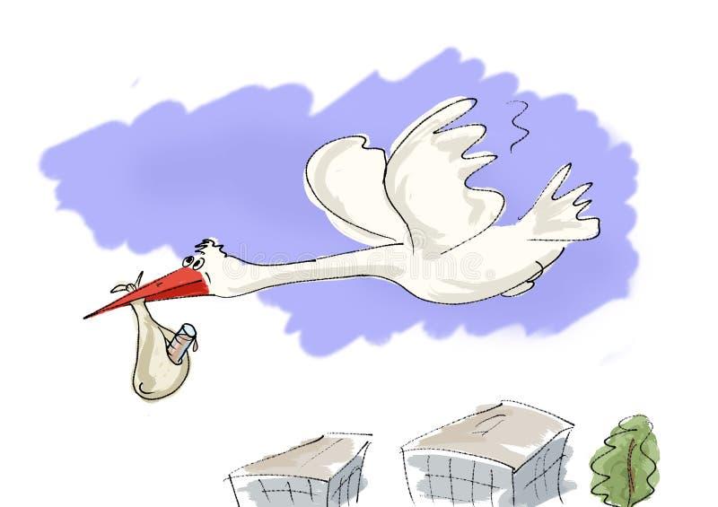 Download Stork to bring newborn stock illustration. Image of birthday - 1172776