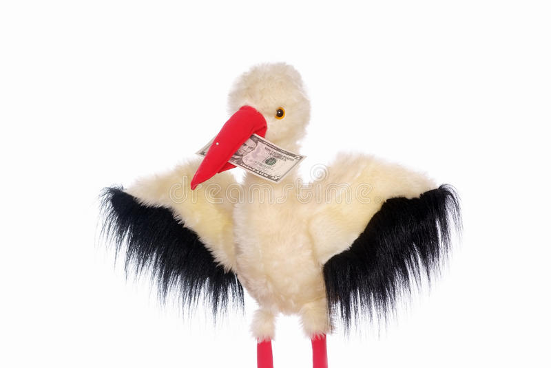 Stork toy and $5 royalty free stock images