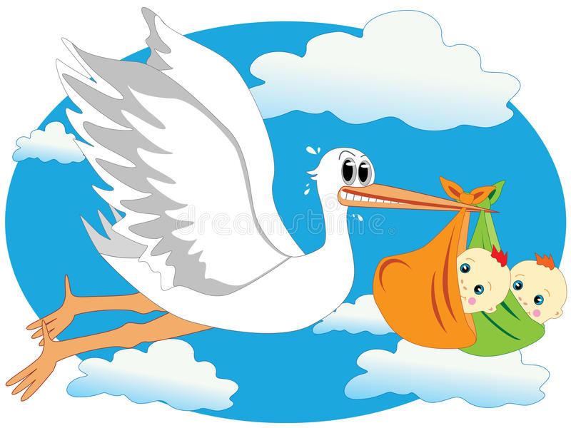 Download Stork and twins stock vector. Image of child, animal - 15914124
