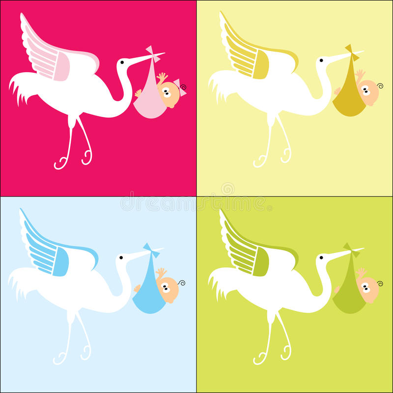 Free Stork With Baby 4 Color Choices Stock Photos - 10877843