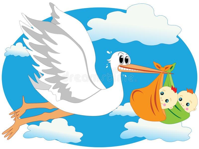 storken kopplar samman royaltyfri illustrationer