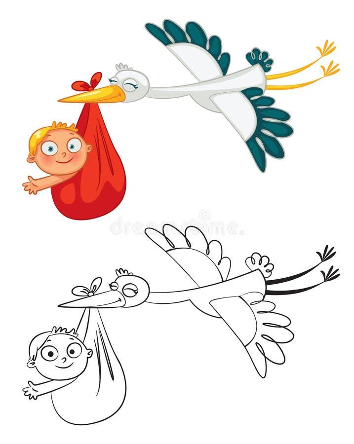 Storken som bär ett gulligt, behandla som ett barn royaltyfri illustrationer