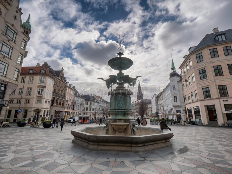 Storkespringvandet fontanna w centrum Kopenhaga, Dani zdjęcia royalty free