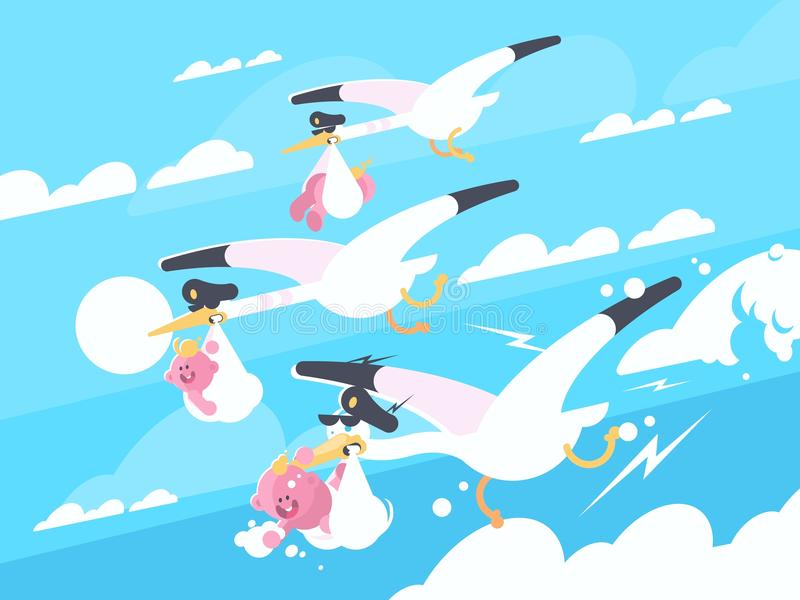 Storks carry babies in beaks. Newborns in flight. Vector illustration royalty free illustration