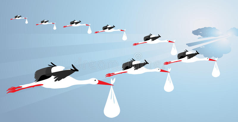 Storks carrying babies. In the early morning sky vector illustration