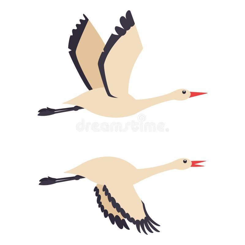 Free Storks, Crane In Flying Vector Cartoon Flat Icon Set Stock Photos - 214613333