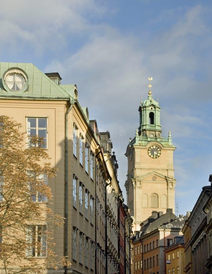 Storkyrkan (圣尼古拉斯教会-伟大的教会)在斯德哥尔摩 瑞典 库存照片