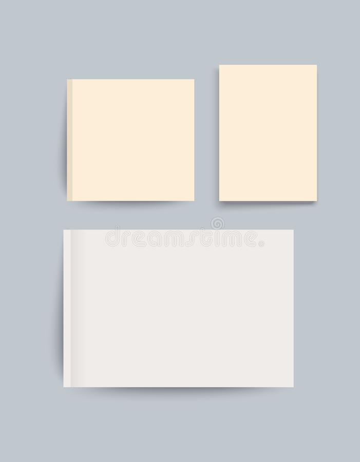 A4 storleksanpassade modellen av enorienterad tidskrift eller katalog ark f?r blankt papper Best?ndsdel f?r annonsering och befor royaltyfri illustrationer