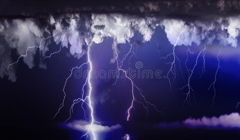Storm. Dark ominous clouds. Thunderstorm with lightning royalty free stock photo