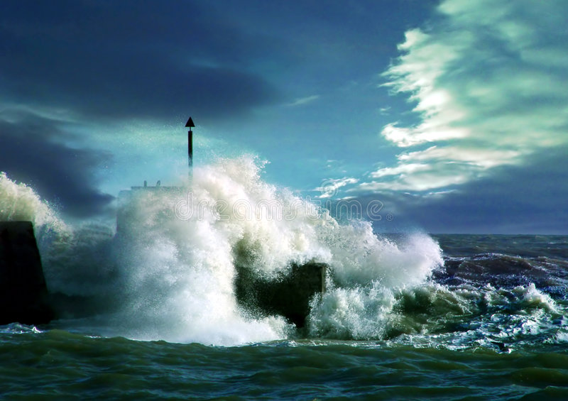 Storm. On sea stock photos