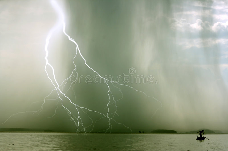 The storm. The beginning of the storm over the lake stock photos