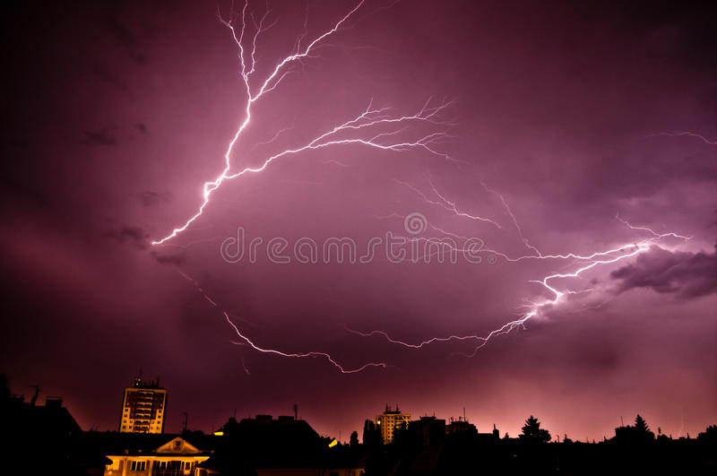 Storm Above The Town Stock Image