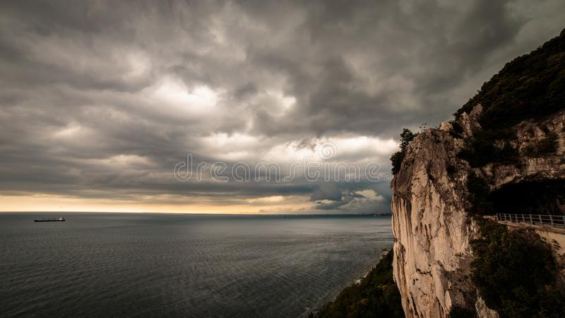 Storm is coming in the gulf of Trieste. Storm approaching the sea in the gulf of Trieste royalty free stock photos