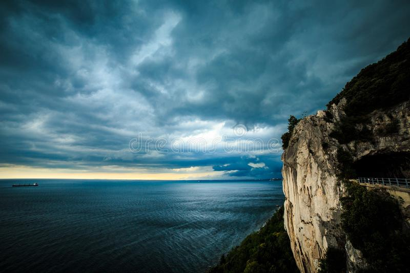 Storm is coming in the gulf of Trieste. Storm approaching the sea in the gulf of Trieste stock image