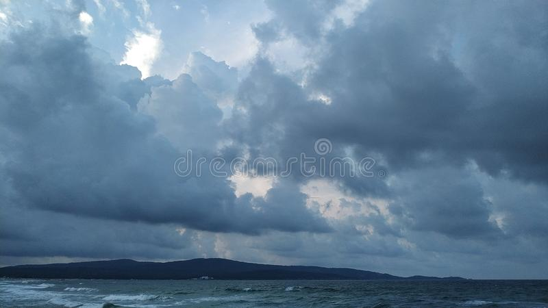 Storm on a black sea. Stormy weather on a coast of the Black Sea in evening royalty free stock image