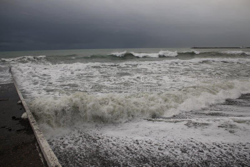 Storm black sea winter sea bad weather cold stock image