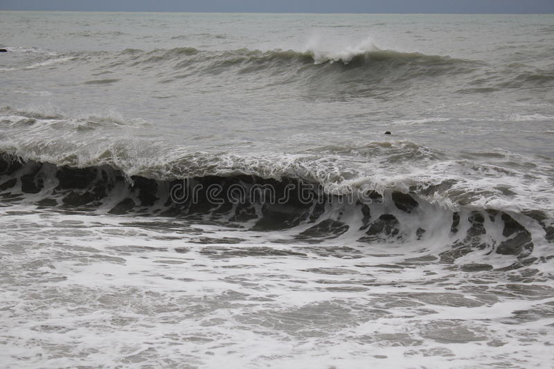 Storm black sea winter sea bad weather cold stock photography