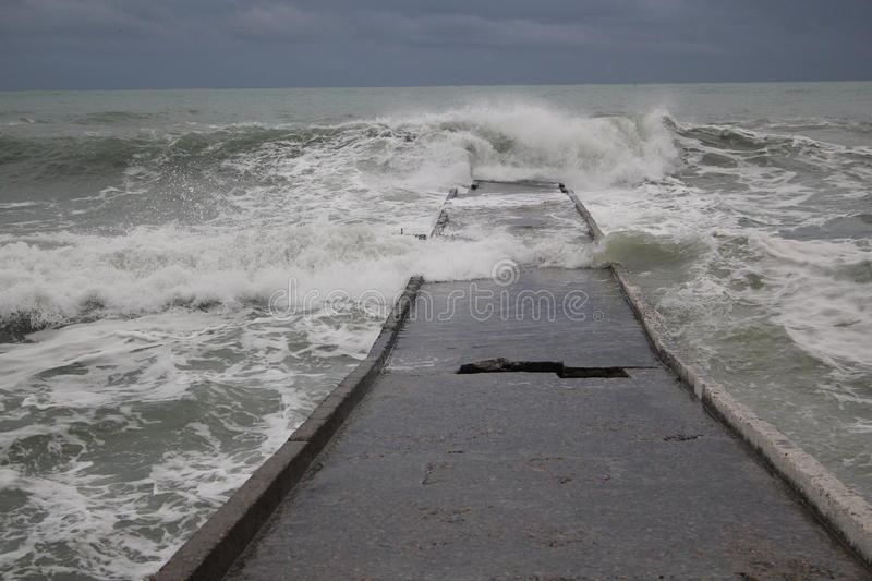 Storm black sea winter sea bad weather cold royalty free stock images