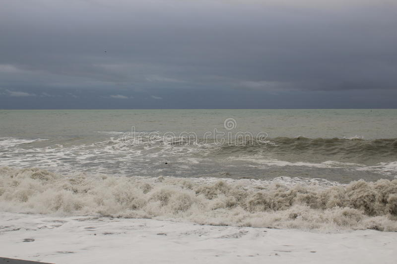 Storm black sea winter sea bad weather cold royalty free stock photo