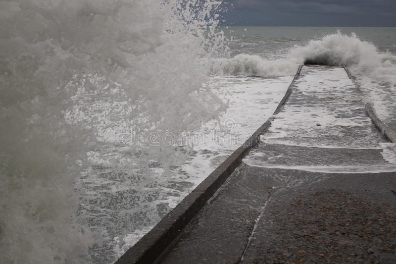 Storm black sea winter sea bad weather cold royalty free stock photography