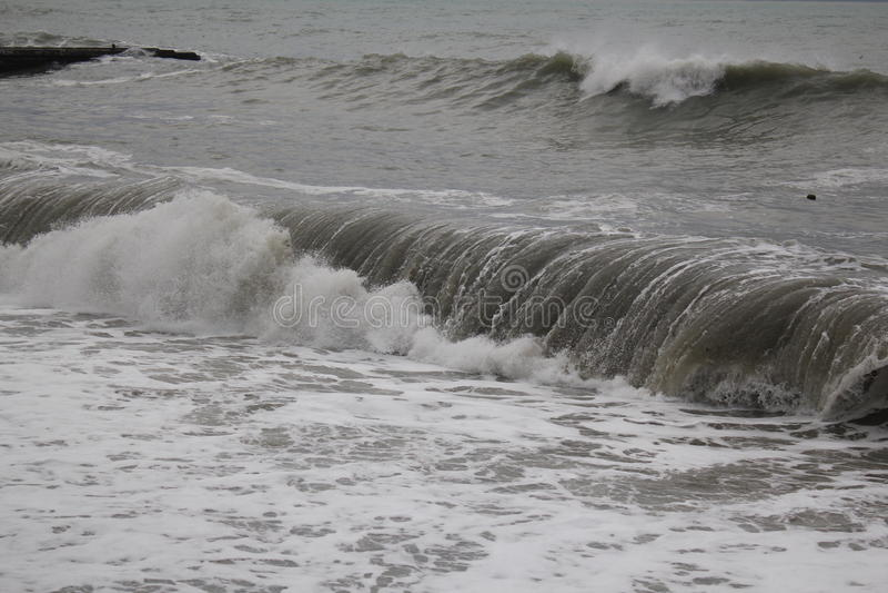 Storm black sea winter sea bad weather cold stock photo
