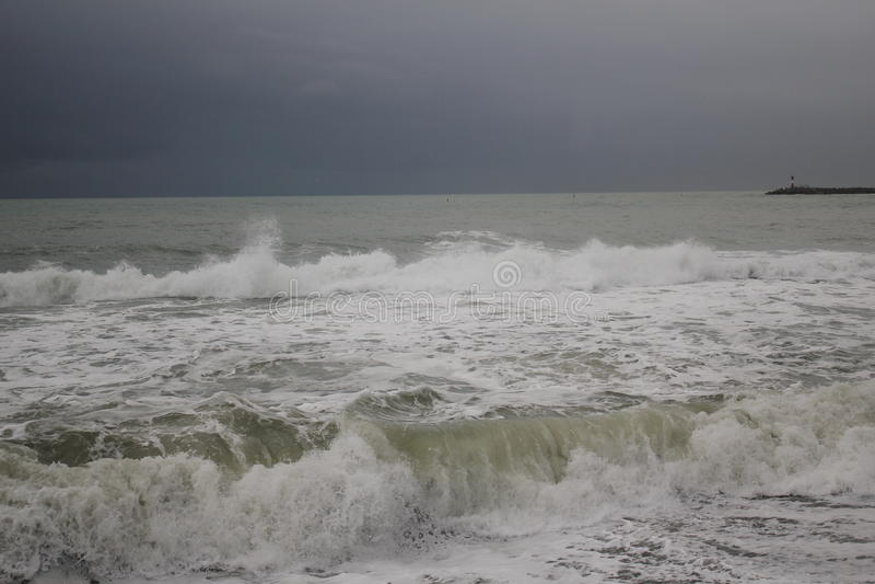 Storm black sea winter sea bad weather cold royalty free stock photos