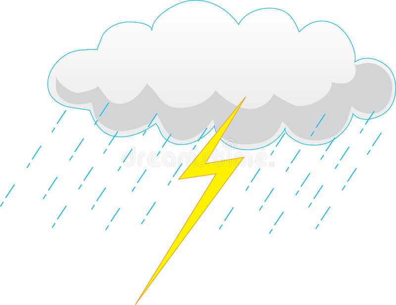 Storm Cloud. Grey Storm cloud with rain and lightning royalty free illustration