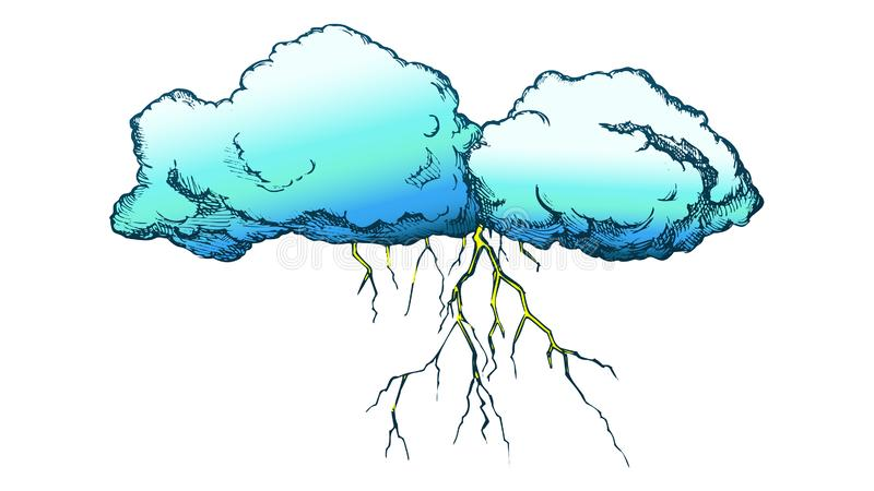 Storm Cloud With Flash Lightning Color Vector royalty free illustration