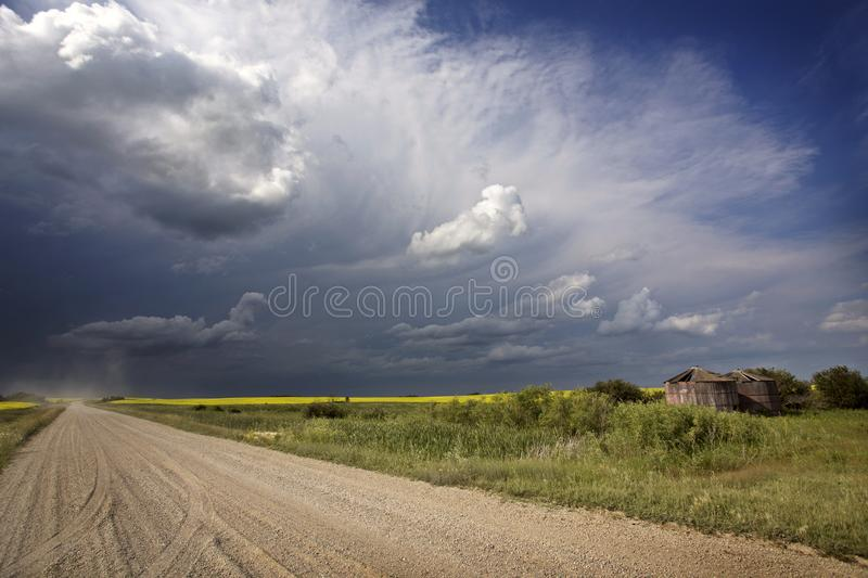 Storm Clouds Canada. Rural countryside Prairie Scene stock image