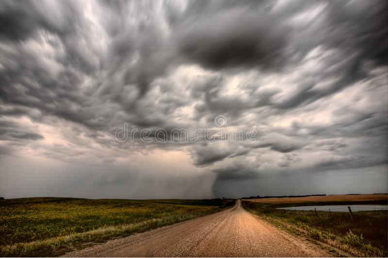 Storm Clouds Canada. Rural countryside Prairie Scene royalty free stock photo