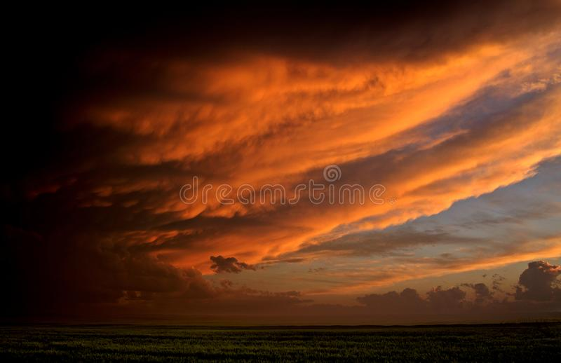 Storm Clouds Canada. Rural countryside Prairie Scene Sunset stock photos