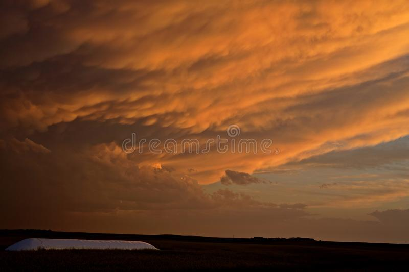 Storm Clouds Canada. Rural countryside Prairie Scene Sunset royalty free stock photography