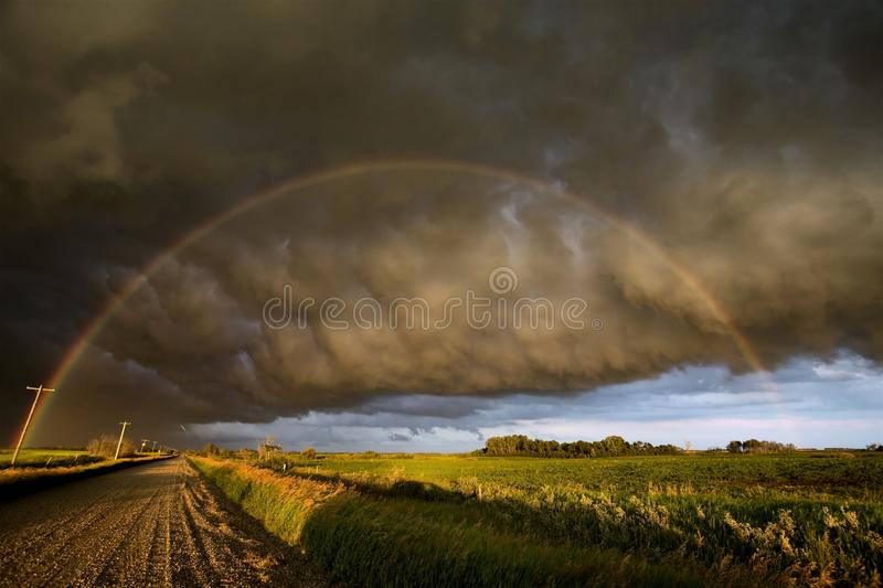 Storm Clouds Canada. Rural countryside Prairie Scene Sunset royalty free stock image